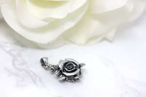 Beautiful Rose Oxidized Antique Rose Charm Pendant in Sterling Silver