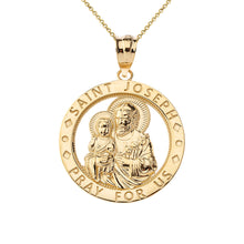 Load image into Gallery viewer, Saint Joseph Pray For Us Round Charm Pendant necklace in Gold