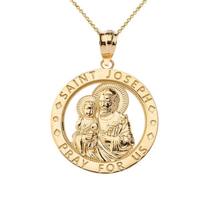 Saint Joseph Pray For Us Round Charm Pendant necklace in Gold
