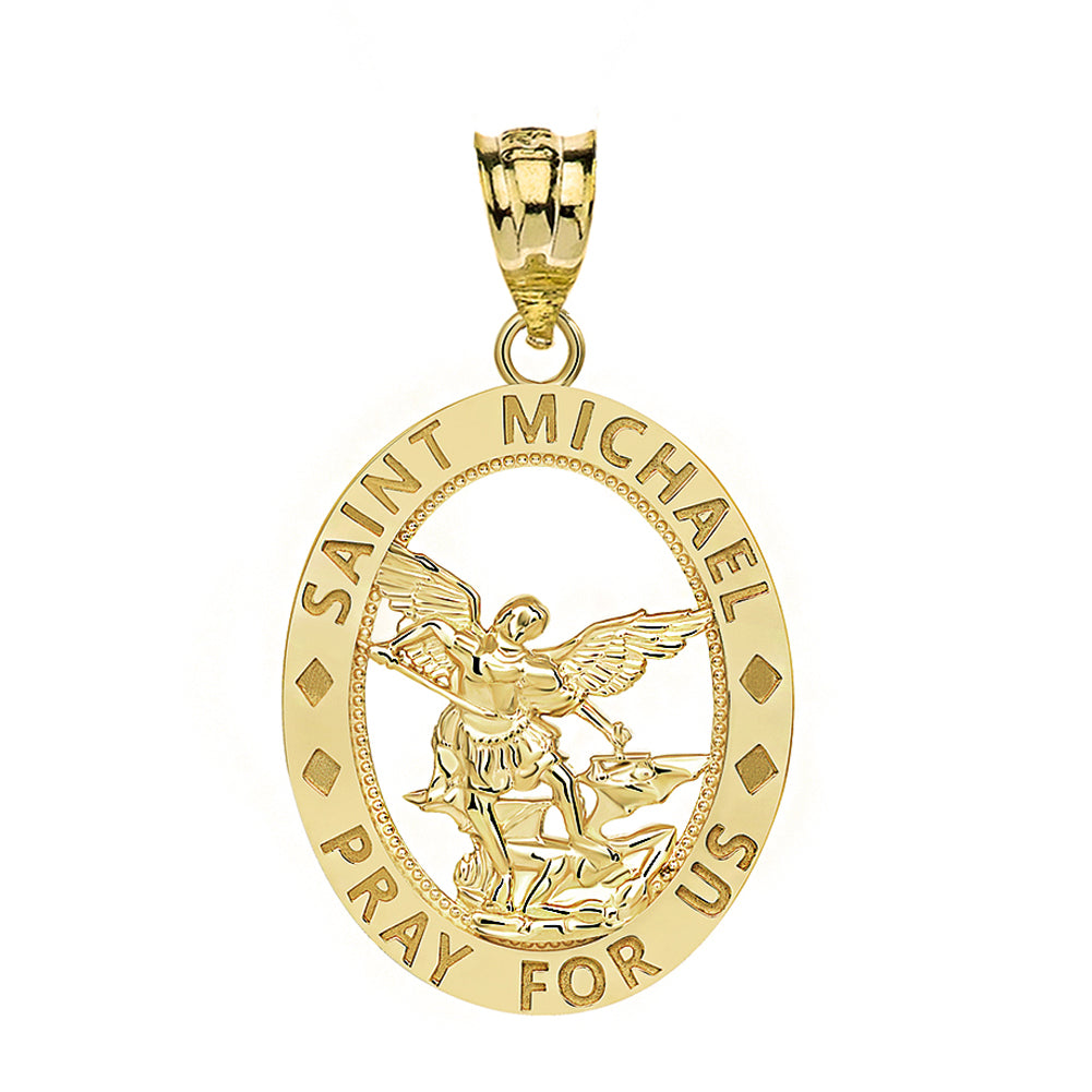 Saint Michael Pray for Us Oval Charm Pendant and Necklace in Gold