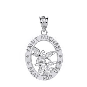 Saint Michael Pray for Us Oval Charm Pendant and Necklace in Sterling Silver