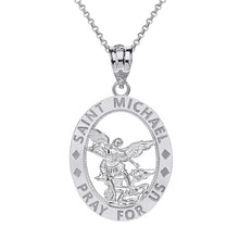 Load image into Gallery viewer, Saint Michael Pray for Us Oval Charm Pendant and Necklace in Gold