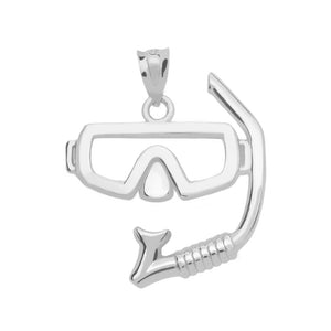 Scuba Diving and Snorkel Mask Pendant in Sterling Silver