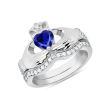 Load image into Gallery viewer, Irish Claddagh Birthstone Ring Set in Gold with Diamonds (2 rings - Engagement and Wedding Ring)