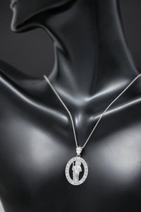 Saint Jude Pray for Us Oval Charm Pendant and Necklace in Sterling Silver