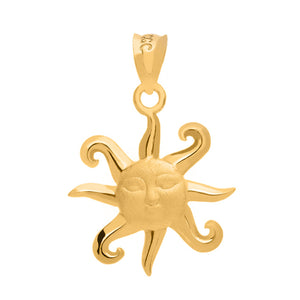Smiling Sun Pendant in Gold