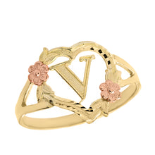 Load image into Gallery viewer, Alphabet Initial Heart Ring for Women in Two-Tone Gold