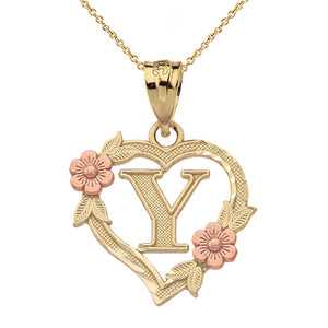 Alphabet Initial Heart Pendant for Women in Two-Tone Gold