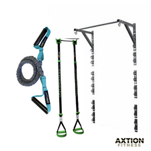 Anchor Gym 4 Foot Wall Station Bundle + Suspension Strap + Resistance Sleeved Tubing