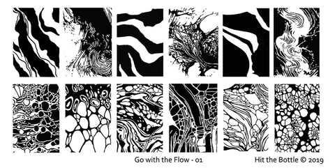 Hit The Bottle Stamping Plate 'Go with the flow - 01'