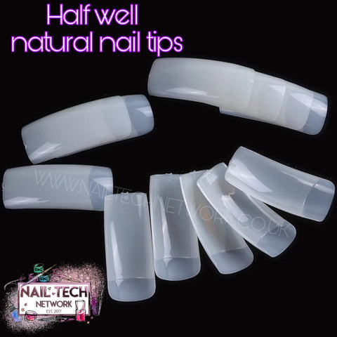 Box of 500 half well nail tips - natural