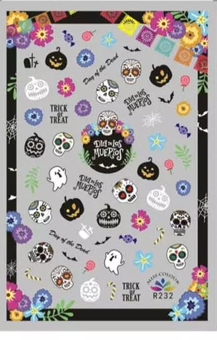 Sugar skull halloween stickers