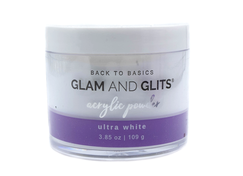 Glam and Glits Back to Basics Acrylic Powder - Ultra White 3.85oz/109g