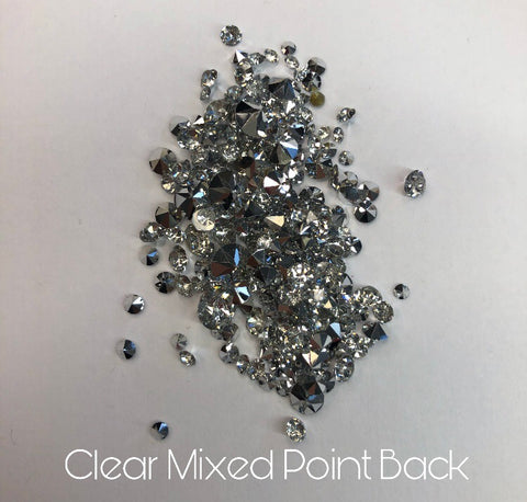 Clear mixed pointed back crystals