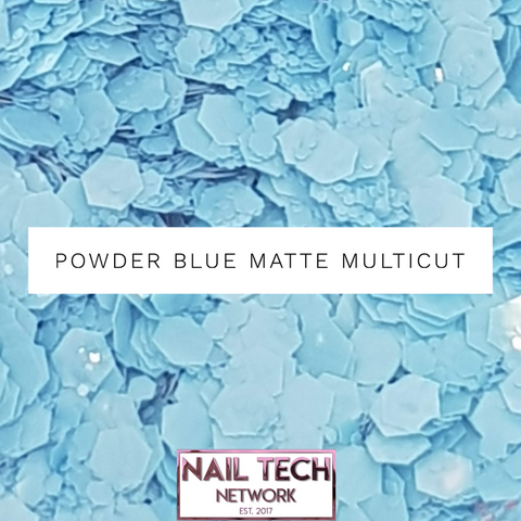 Powder Blue matte multIcut glitter