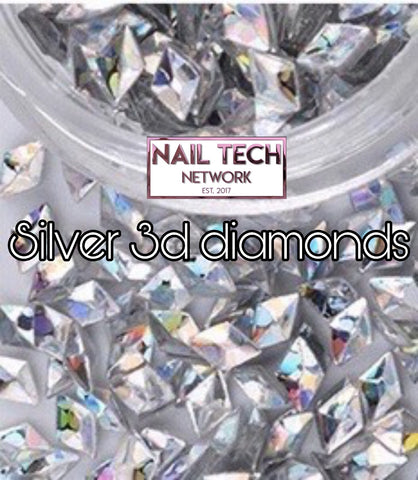Silver diamonds 3D glitter