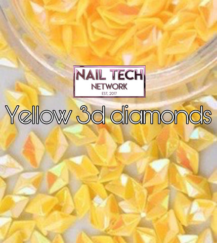 Yellow diamonds 3D glitter