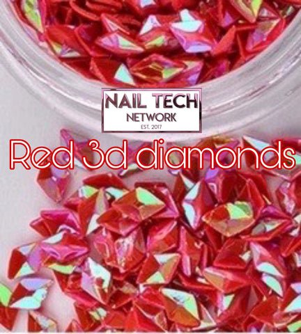 Red diamonds 3D glitter