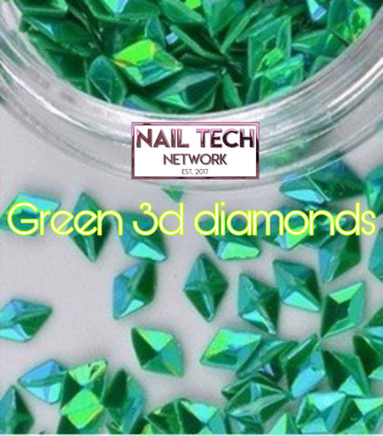 Green diamonds 3D glitter