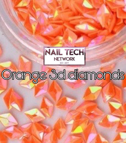 Orange diamonds 3D glitter