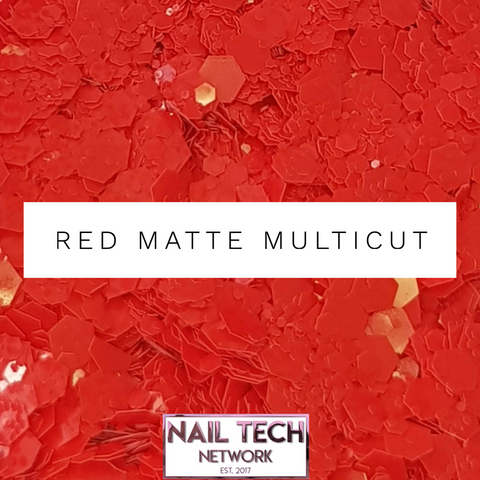 Red matte multIcut glitter