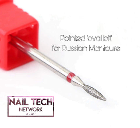 Pointed oval bit for Russian manicure
