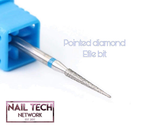 Pointed diamond efile bit for Russian manicure