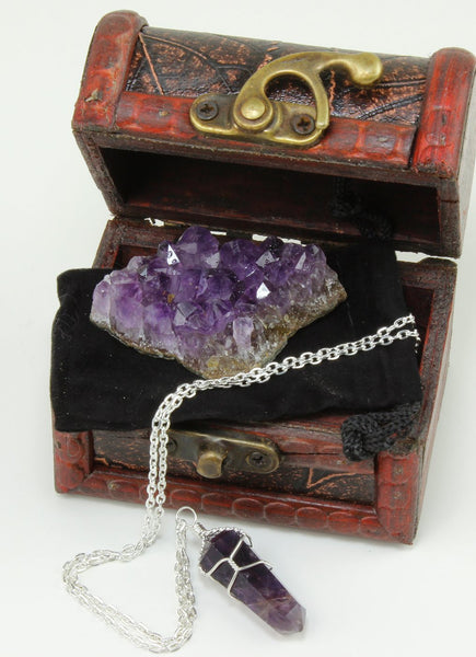 Purple Amethyst Crystal Cluster & Wire Wrapped Point Pendant Necklace, packaged in Velvet Pouch, inside a Wooden Handcrafted Treasure Chest Box, Bonus Educational Card included, Dancing Bear Brand.