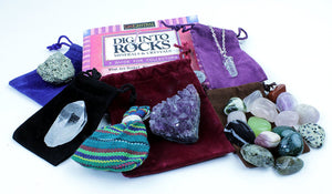 Rock & Mineral Stocking Stuffer Variety Pack, 7 Surprise Gifts, Quartz Necklace, Pyrite, Amethyst, Tumbled Stones, Worry Dolls, Quartz Point, & Rock Book. Fun Prizes & Party Favors