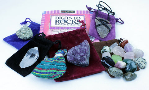 Rock & Mineral Stocking Stuffer Variety Pack, 7 Pc Gift Set w/ Arrowhead Necklace, Pyrite, Amethyst, Tumbled Stones, Worry Dolls, Quartz Crystal Pt and Rock Book, Fun Prizes & Party Favors