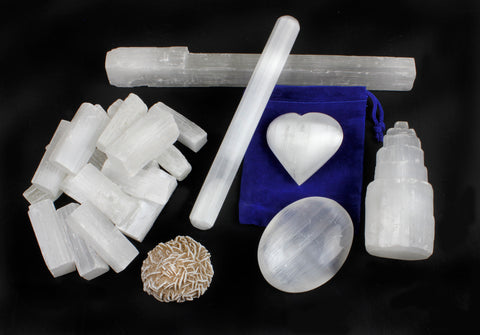 "Selenite Protection Collection: 1.5"" Sticks (17-20 pcs), Palm Stone, Heart, Tower, 8"" Stick, 5.5"" Massage Wand, Desert Rose stone, Educational ID card, Healing, Chakra, Good Energy, Dancing Bear brand"