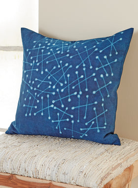 Indigo Magic Throw Pillow – Constellation Pattern