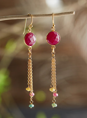 Pink Sunset Sapphire Earrings