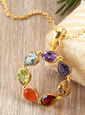 Rainbow Harmony Gemstone Necklace