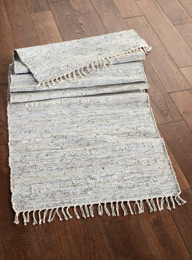 Silver and Leather Runner Rug
