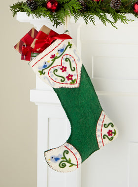 Lovebirds Felted Christmas Stocking (green)
