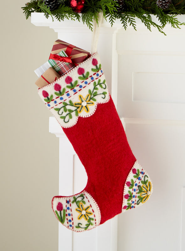 Alpine Meadow Felted Christmas Stocking (red)