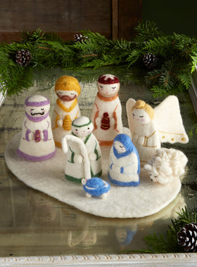 Hand-felted Holy Family Nativity