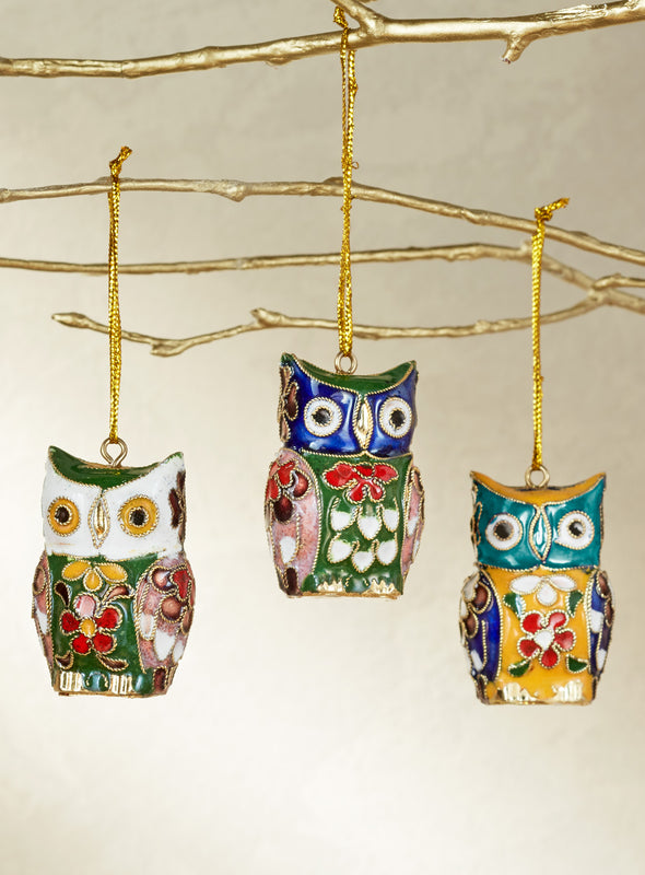 Cloisonné Owl Ornaments - Set of 3