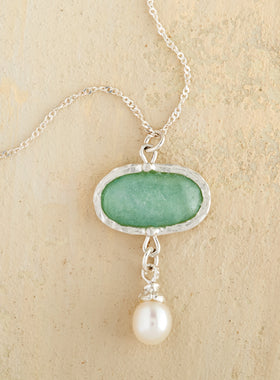 Aqua Roman Glass and Pearl Necklace