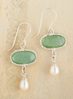 Aqua Roman Glass and Pearl Earrings