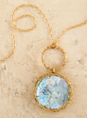 Roman Glass Gold Thread Necklace