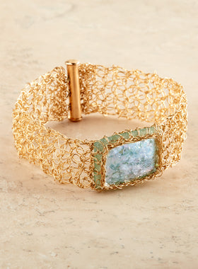Roman Glass Gold Thread Bracelet