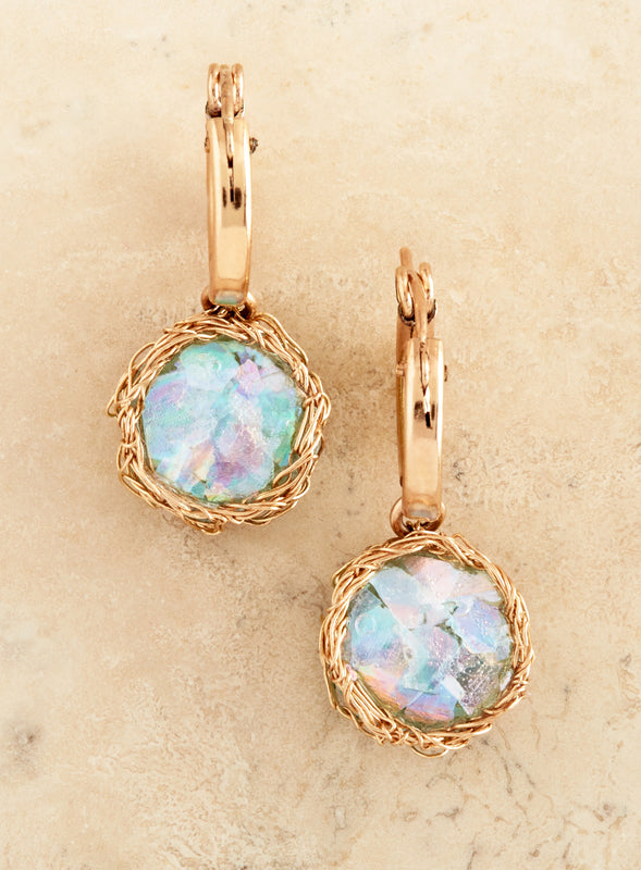 Roman Glass Gold Thread Earrings