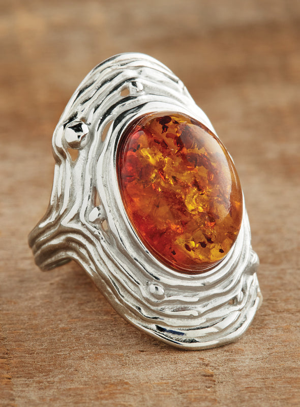 Amber Ripple Adjustable Ring