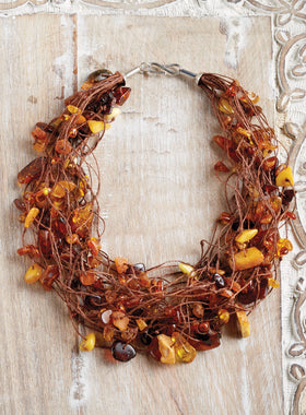 Amber Bird's Nest Necklace