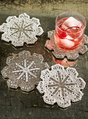 Beaded Snowflake Coasters - Set of 4