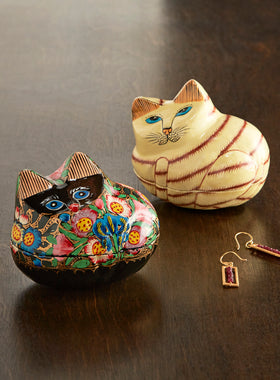 Fanciful Feline Treasure Boxes - Set of 2