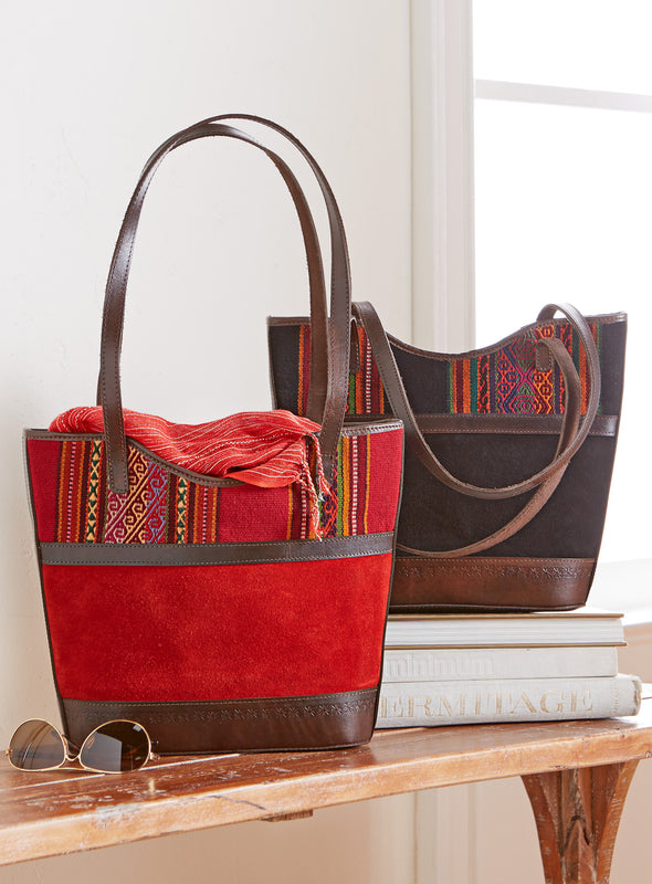 Illimani Wool and Suede Tote