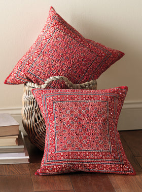 Mirrored Ajrak Throw Pillow
